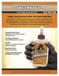 Gorilla 6200022-6 Wood Glue, 8 oz, (Pack of 6), 6-Pack, 6 Piece