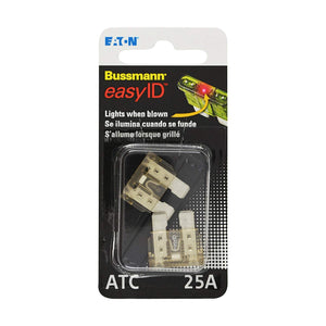 Bussmann BP/ATC-25ID easyID Illuminating Blade Fuse, (Pack of 2)