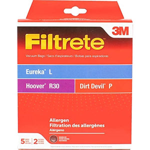 3M Filtrete Eureka/Hoover/Dirt Devil L / R30 / P Allergen Vacuum Bag, Single Unit, White