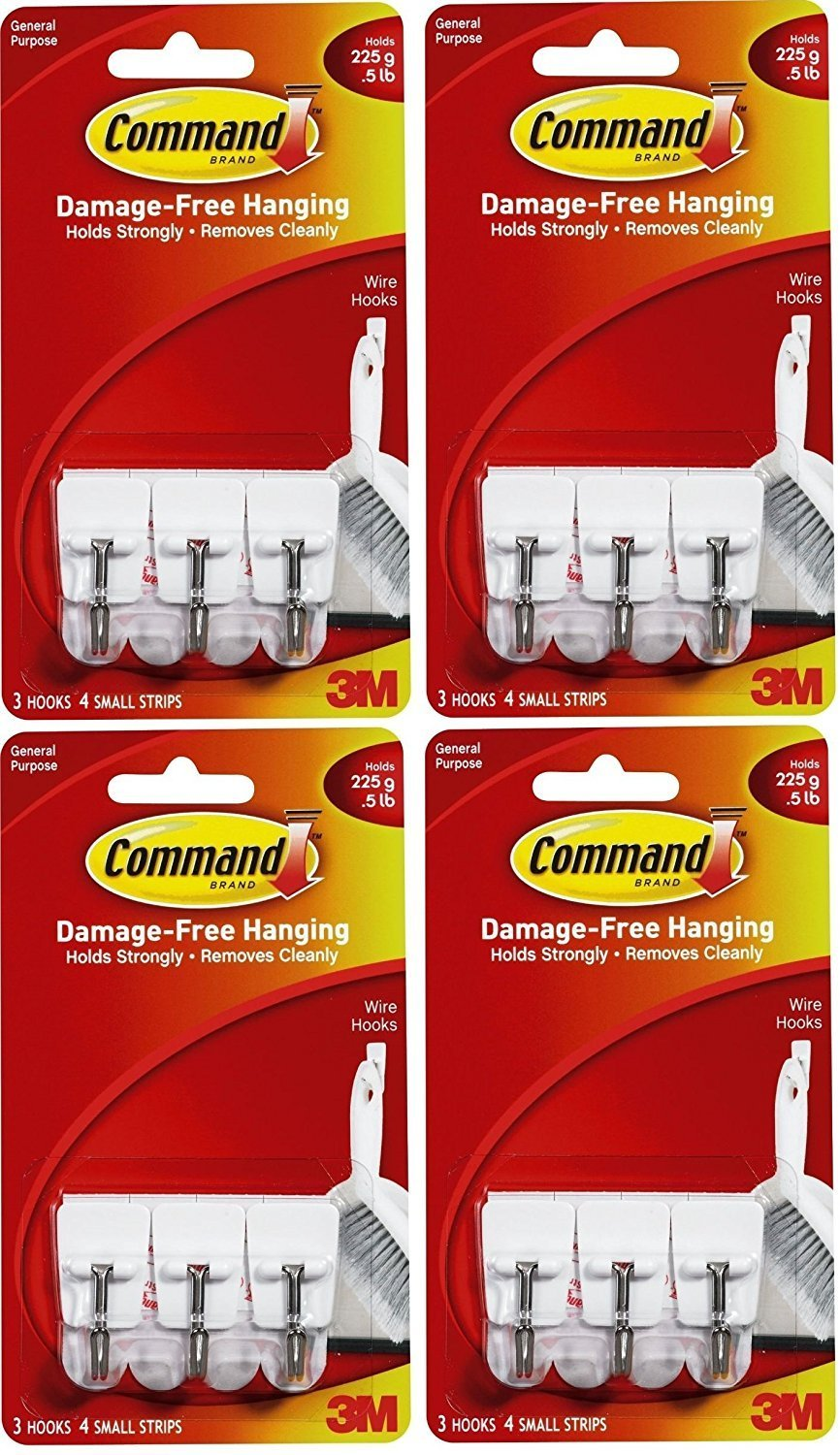 3M Command Small Wire Hooks, 12-Hooks