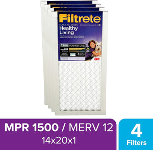 Filtrete 14x20x1, AC Furnace Air Filter, MPR 1500, Healthy Living Ultra Allergen, 4-Pack