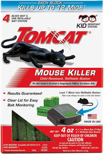 Tomcat Mouse Killer Refillable Bait Station for Indoor Use - Child Resistant (1 Station with 4 Baits)