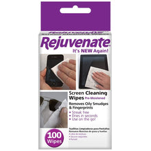 Load image into Gallery viewer, 12 Rejuvenate Screen Cleaning Wipes Pre-Moistened Safely Quickly Cleans Lens and Screens