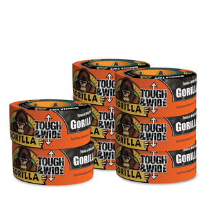 Gorilla 6003001-8 Glue 6003001 Tough & Wide Tape, 2.88-Inch x 30-Yards, (Pack of 8), 8-Pack, 8 Piece