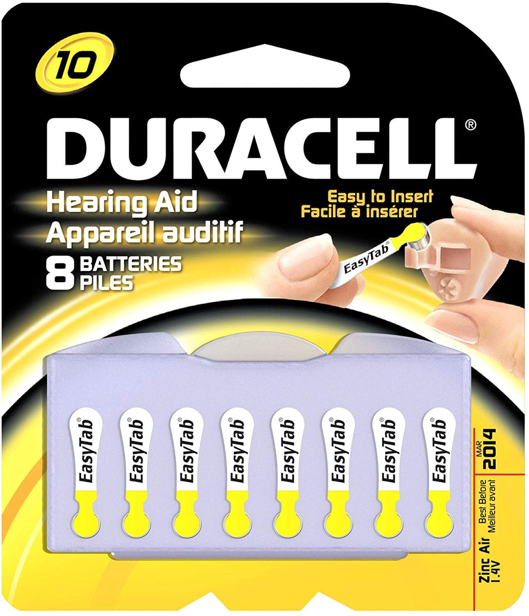 Duracell Hearing Aid 10 Batteries, 8-Count