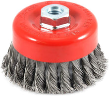 Load image into Gallery viewer, Forney 72753 4-Inch by 5/8-11 Knotted Cup Brush .020 Carbon Steel