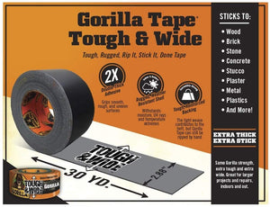 Gorilla 6003001-9 Glue 6003001 Tough & Wide Tape, 2.88-Inch x 30-Yards, (Pack of 9), 9 - Pack, Black, 9 Piece