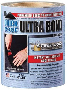 cofair products inc ubb625 Quick Roof, 6 -Inch x 25 -Feet, Black Ultra Bond, With Steel-Loc Adhesive, Instant Self-Adhesive Roof Repair
