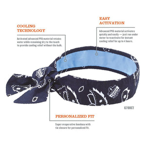 Cooling Bandana, Navy Western, Lined with Evaporative PVA Material for Fast Cooling Relief, Tie for Adjustable Fit, Ergodyne 6700CT