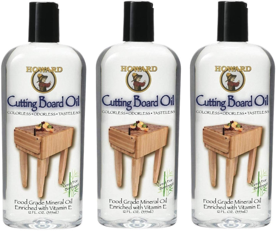 Howard Products BBB012 Butcher Block and Cutting Board Oil, 12-Ounce (3-Pack)