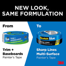 "Load image into Gallery viewer, Scotch Painter's Tape 2090EL-36E Trim + Baseboards, 1.41"" Width, Blue"