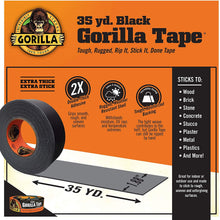 "Load image into Gallery viewer, Gorilla Tape, Black Duct Tape, 1.88"" x 35 yd, Black, (Bulk Pack of 18)"