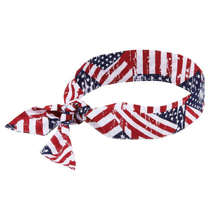 Cooling Bandana, Stars& Stripes, Evaporative Polymer Crystals For Cooling Relief, Tie For Adjustable Fit, Ergodyne Chill ITS 6700