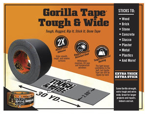 "Gorilla Tape, Black Tough & Wide Duct Tape, 2.88"" x 30 yd, Black, (Pack of 4)"