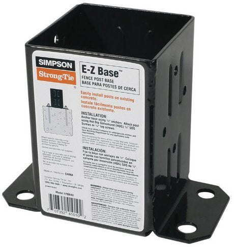 8 Pack Simpson Strong Tie FPBB44 E-Z Base 4x4 Post Base with Black Finish