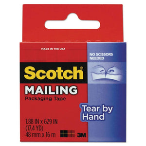 "Scotch Tear-by-Hand Tape, 1.88"" x 17.4 yd, Clear"