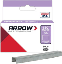 Load image into Gallery viewer, Arrow Fastener 306IP 3/8-Inch Staples for T30 Staple Gun, HT-30 Hammer Tacker, 5,040 Pack - 107C