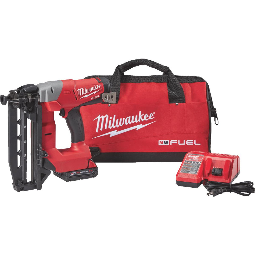 Milwaukee M18 FUEL Brushless Cordless Finish Nailer Kit 2741-21CT