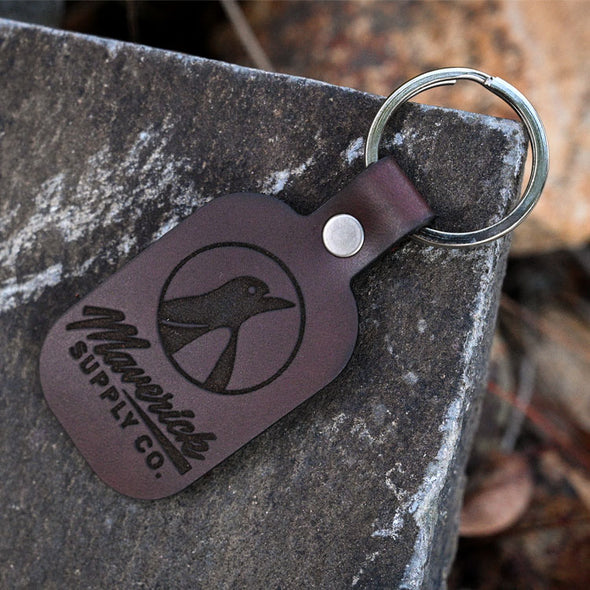 HAND CRAFTED LEATHER KEYCHAIN VERTICAL LOGO