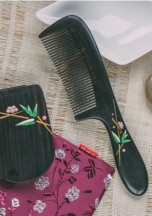 Bamboo Hair Comb & Mirror Set