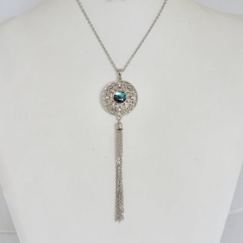 Paua Filigree disc tassel