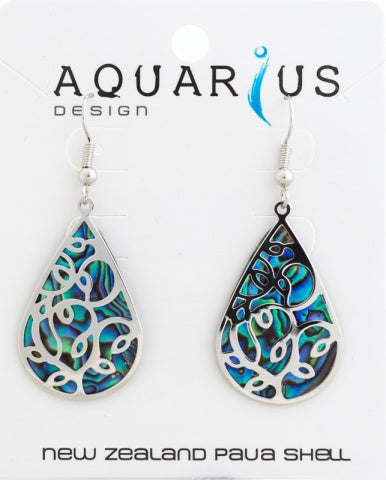 Paua Teardrop with Overlay Earrings