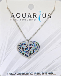Paua Large Heart Filigree Pendant