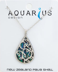 Paua Teardrop with Overlay Pendant