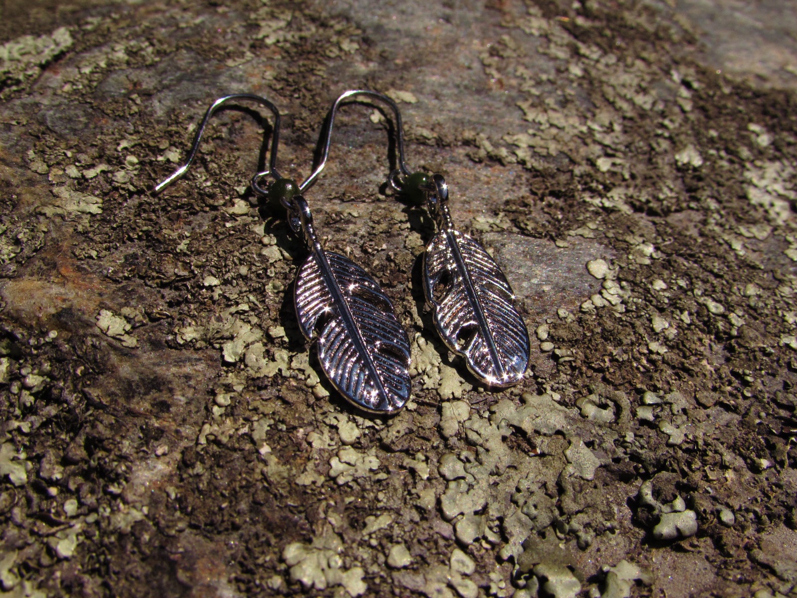 Greenstone Feather Earrings