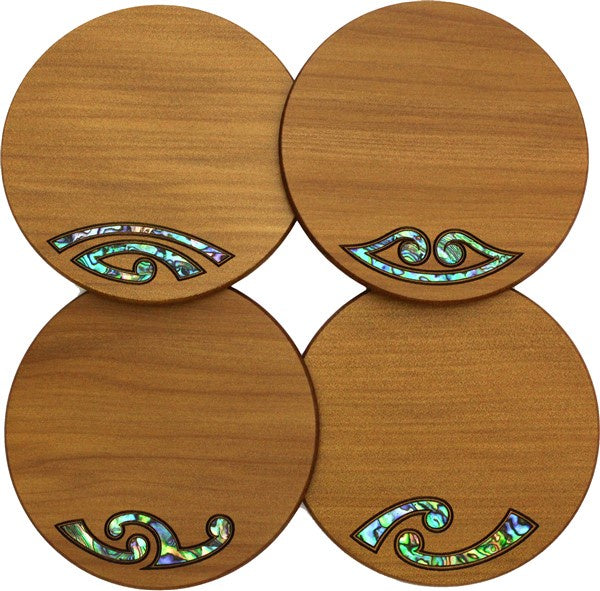 Mixed Paua Kauri Coaster Set