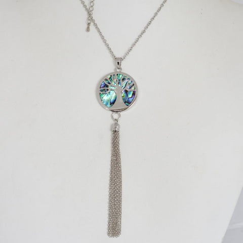 Paua Kauri Tree Tassel Necklace