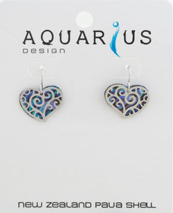Paua Small heart filigree