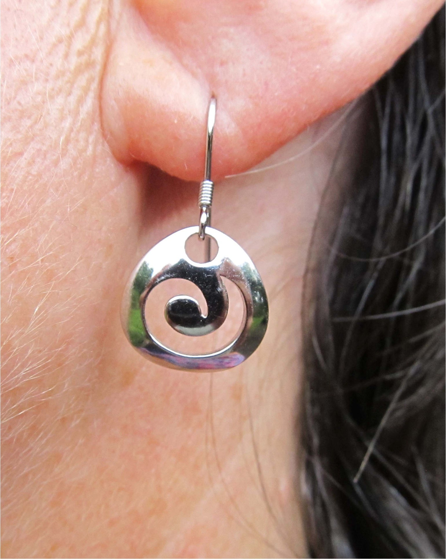 X14 Sterling Silver koru drop earrings