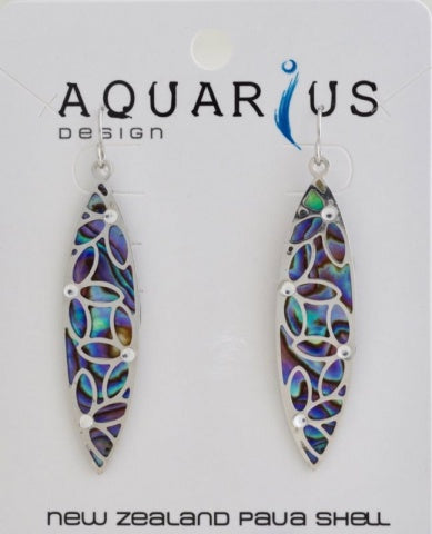 Paua Leaf Filigree & Crystal Earring