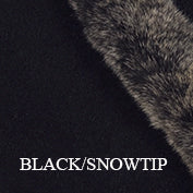 Black snowtip fur trim poncho