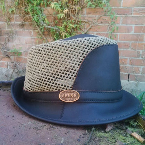 Brown Leather Trilby