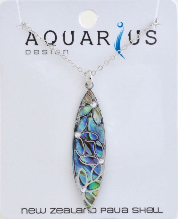 Paua Leaf with filigree & crystal pendant