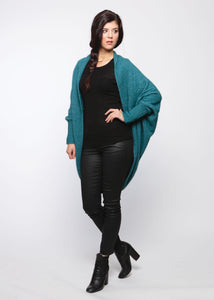 cocoon cardigan, made in New Zealand, Possum, merino and silk.