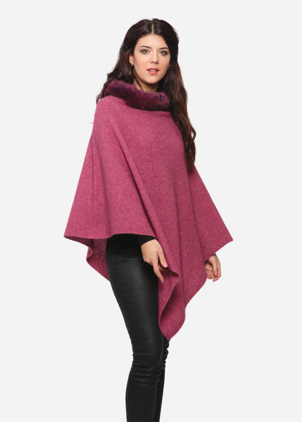 Rose fur trim Poncho