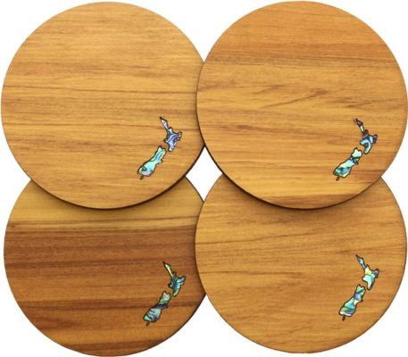 New Zealand Paua Rimu Coaster Set