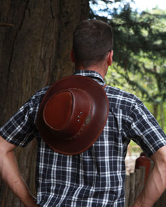 Brown Full Grain Leather Hat