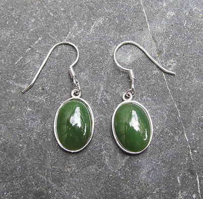 Sterling Silver Greenstone Oval Earrings