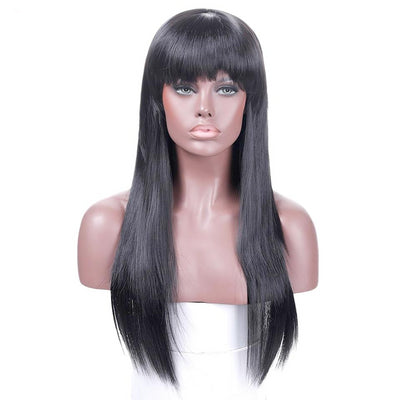 Long Straight Hair With Bangs Synthetic Heat Resistant Wig