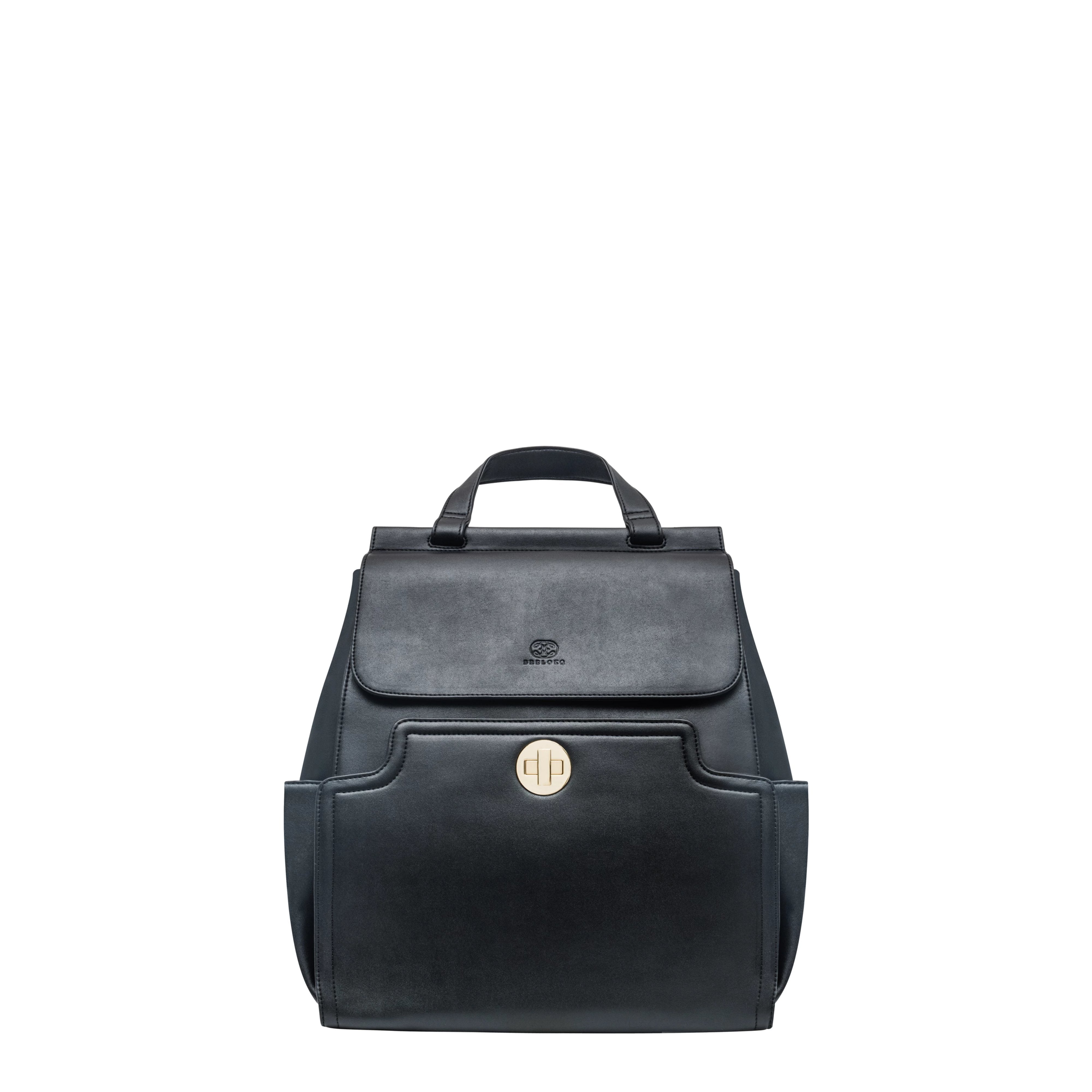 A vegan leather diaper bag with an Elegant look, like a designer bag with a changing pad integrated