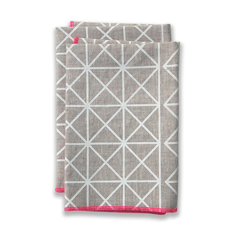Grid Pink Large Napkins (set of 4)