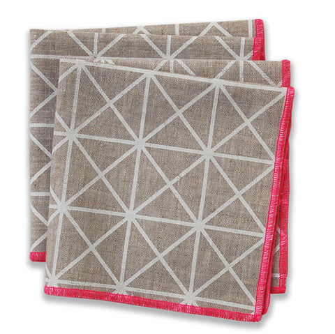Grid Pink Small Napkins (set of 4)
