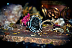 **SPIRIT ORB** Master Skull & Bones ANUBIS God of Egypt Djinn Ring ~ Discover Past Lives & Speak to the Dead! Visions of Afterlife! .925! ~ PURE White Light * Djinn Genie Ring! $$