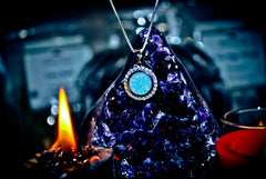 SAMHAIN Haunted Moon Magick Amulet of the Ancients! Power & Prophecy! Metaphysical Pagan Necklace! * Wealth & Psychic Third Eye Power! * 925! Conjure Raw Energy! X10