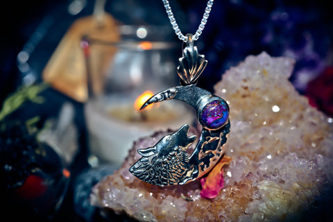 **SECRET SOCIETY** WOLF MOON 33 Ancient Spells Haunted Occult Amulet Gain Power, Wisdom, Stamina, Respect, Good Luck Spell Talisman Pendant ** FORTUNE ** $$$