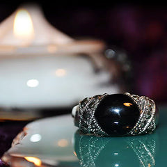 Samhain Gateway Call of the Shadows Ring! SPEAK to the Dead & Conjure Raw Energy! Necromancy + 3rd Eye ~ .925!